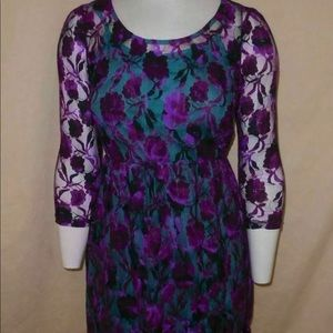 Pinky Floral Lace Overlay Dress sz. S